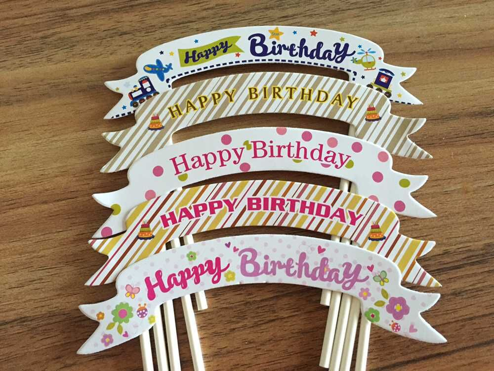 100pcslot Happy Birthday Decoration Cake Topper Party Supplies Decorations 1