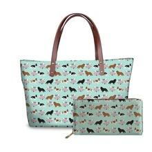 цена NOISYDESIGNS Ladies Luxury Design Handbags&Wallet for Women King Charles Spaniel Printing Top-Handle Bag Females Travel Tote Bag онлайн в 2017 году