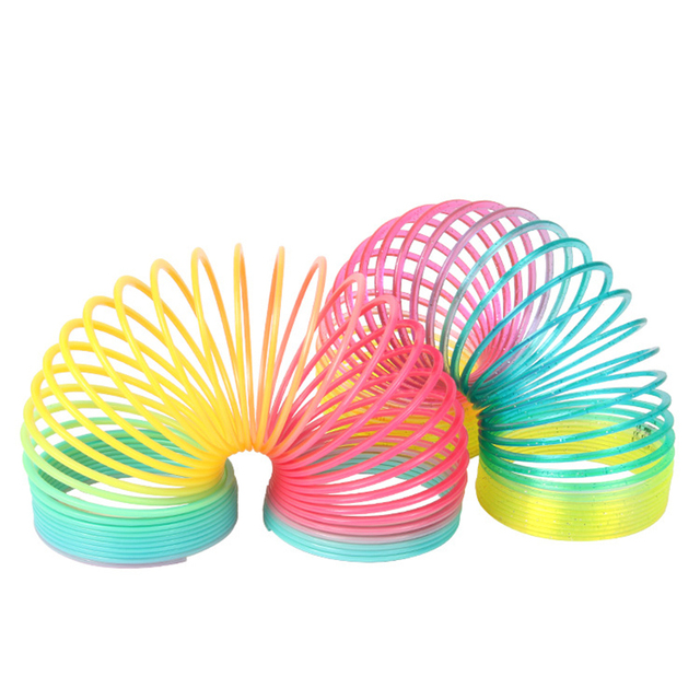 Toys For Spring : Pcs set cm plastic magic rainbow spring slinky toys