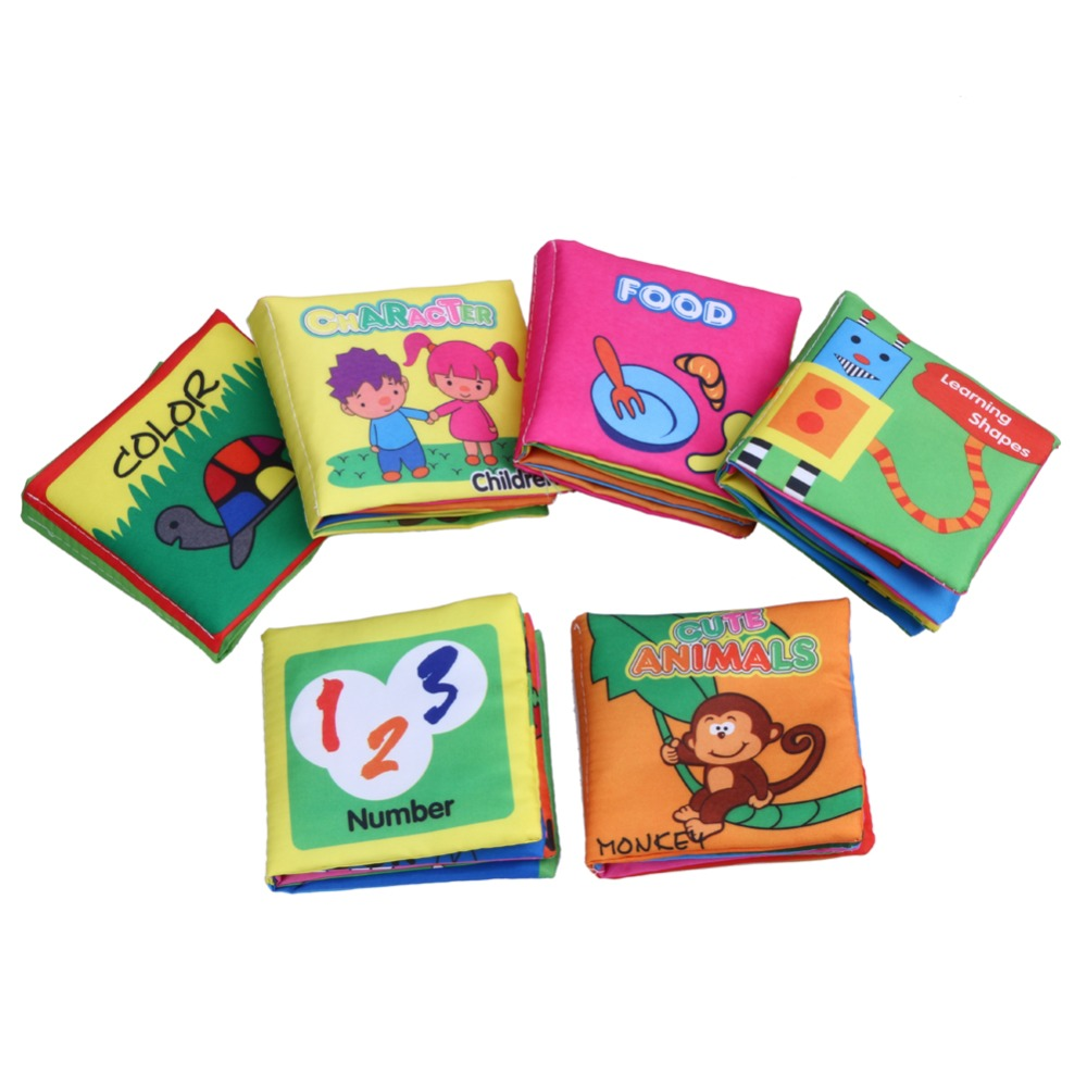 6Pcs Set Soft Infant Reading Cloth Books Anti tear Educational Animals Characters Numbers Colors Food Cognition