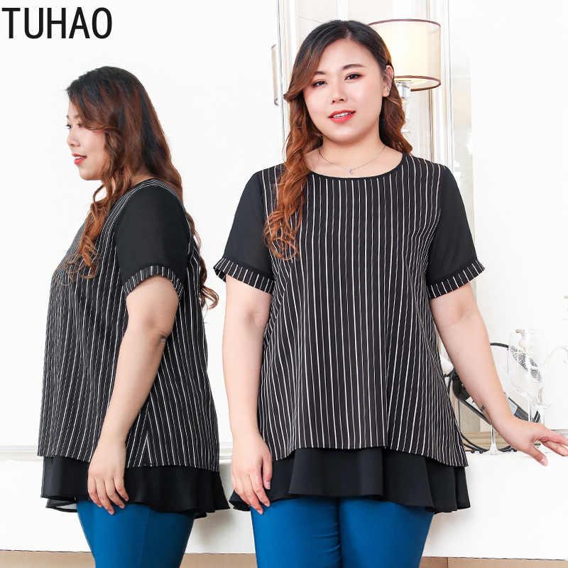 TUHAO винтажная элегантная шифоновая полосатая блузка размера плюс 10XL 8XL 6XL Женская Блузка 4XL Летние черные топы большого размера MS06