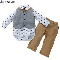 JOCESTYLE 3pcs Baby Boys Clothes Gentleman Clothing Set Printing Shirt Pants Waistcoat Newborn Infant Costume Baby Clothing Set