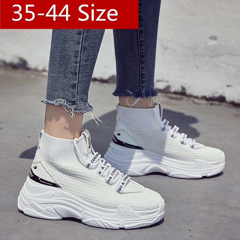 97378a2423eb US $36.57 5% OFF|High Top Men Women Sneakers 5 CM Thick Sole Sock Shoes  Knit Vamp Breathable Dad Shoes White Black ladies shoes 35 44-in Women's ...
