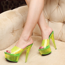 High Fashion T Show Pumps Night Club High Heel Sandals Super Star Fluorescent Platform Slides Slippers High Heel Shoes Plus 40