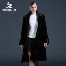SISILIA 2016 New women Genuine mink fur coats,Real rabbit fur coats,Mandarin collar,Plus length,Women natural black coats of fur