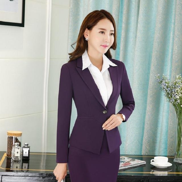 Manga longa Roxo Elegante Moda Primavera Ladies Outono Jaquetas Casaco para As Mulheres de Negócios Blazers Tops Feminino Outwear Blazer