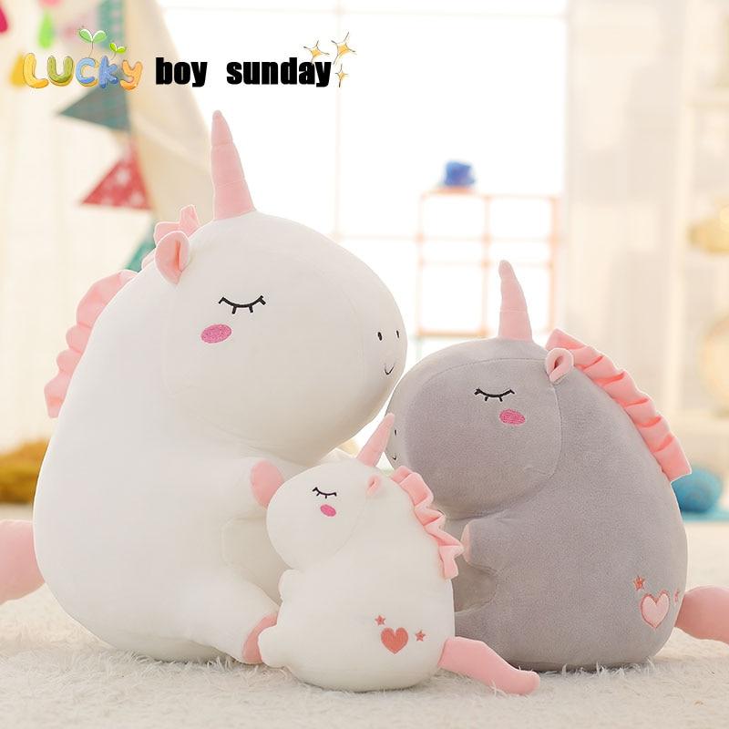 Unicornio de peluche de juguete gordo unicornio muñeca lindo animal de peluche unicornio suave almohada bebé juguetes para niños niña cumpleaños regalo de Navidad
