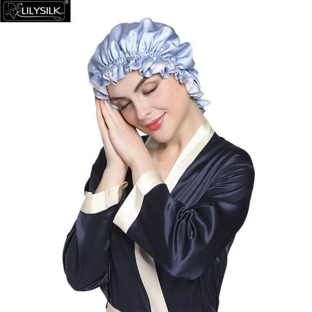 Mujeres de Seda de Dormir Sombreros 100% Puro Chino 19 Momme Lilysilk Capas Dobles Volantes Cintas Pelo Gorros Protección Noche Capó