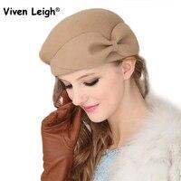 Viven leigh бантом цветок шерсть мягкая стюардесса шляпа новый модный бренд осень-зима берета Для женщин шапочка Кепки Gorras Планас
