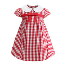 bongawan Girls Dresses Red Striped Summer Short Clothing New Brands Bow Cotton Children Clothes 3-8 Years