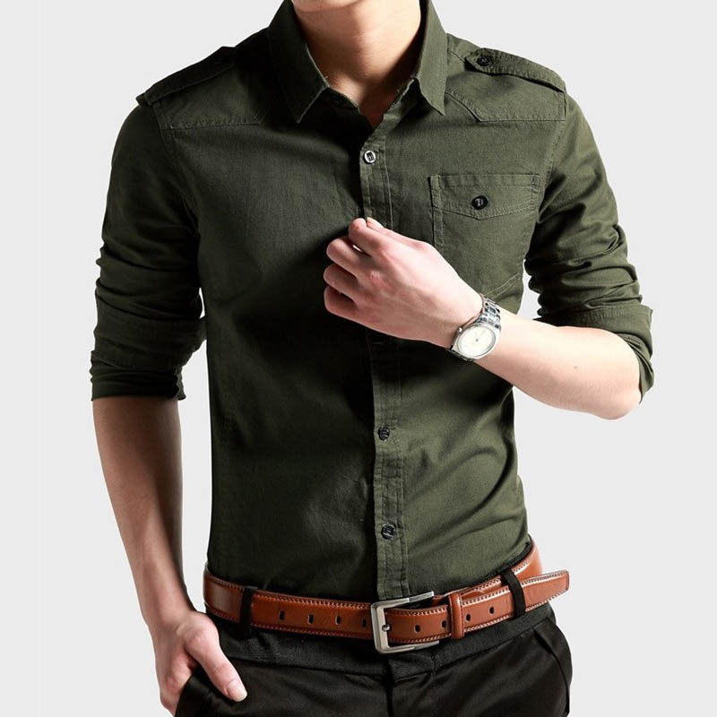 Casual Military Style Mens Shirts Long Sleeve New 2015 Men