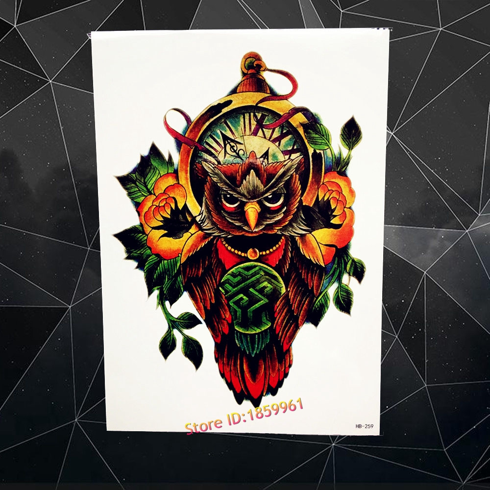 Clock owl designs men body art painting tattoo totem for Gifts for tattoo artist