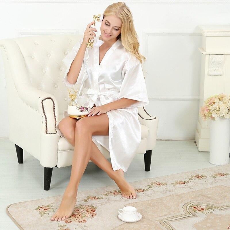 2015 New Silk Kimono Robe Bathrobe Women White Silk Bridesmaid Robes ...