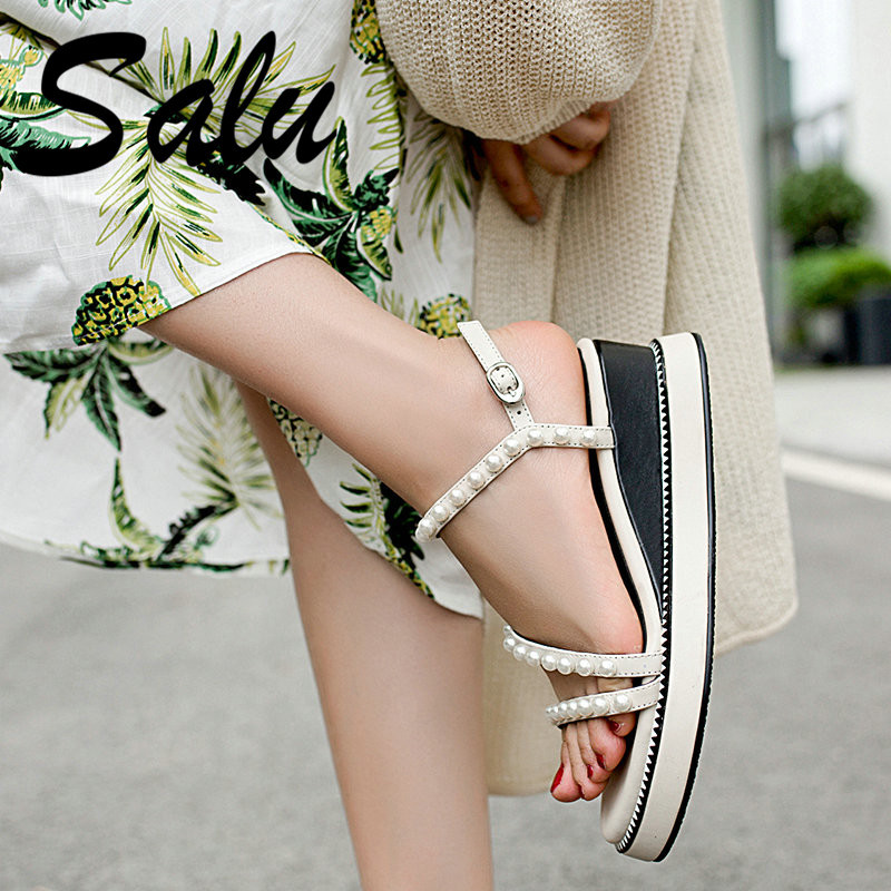 Salu Summer New Fashion Solid Black Beige Women Sandals Genuine Leather Platforms High Heels Shoes Woman