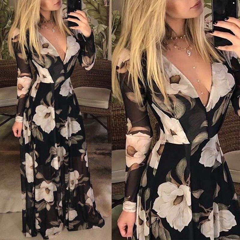 2019 Fashion Pop Womens Boho Floral Maxi Long Dress Ladies Long Sleeve V Neck Collect Waist Evening Party Summer Chiffon Dress