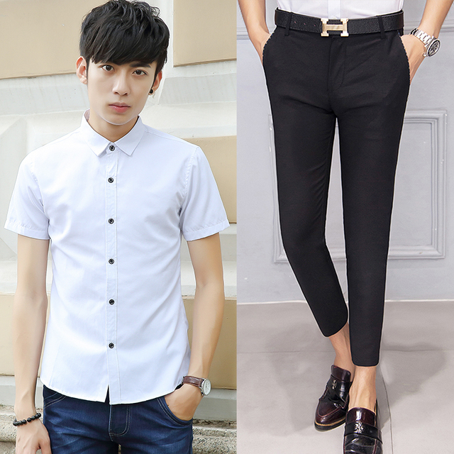 d68092298 Mens Short Shirts and Capri Pants Set Solid Cotton Broadcloth Casual Fashion  Slim Elegant Men Masculina Chemise Homme 8152 MS01