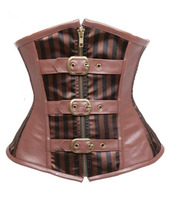 Brown Striped Zipper Steampunk Satin Leather Underbust Corset Halloween Clubwear Push Up Waist Cincher Bustier S