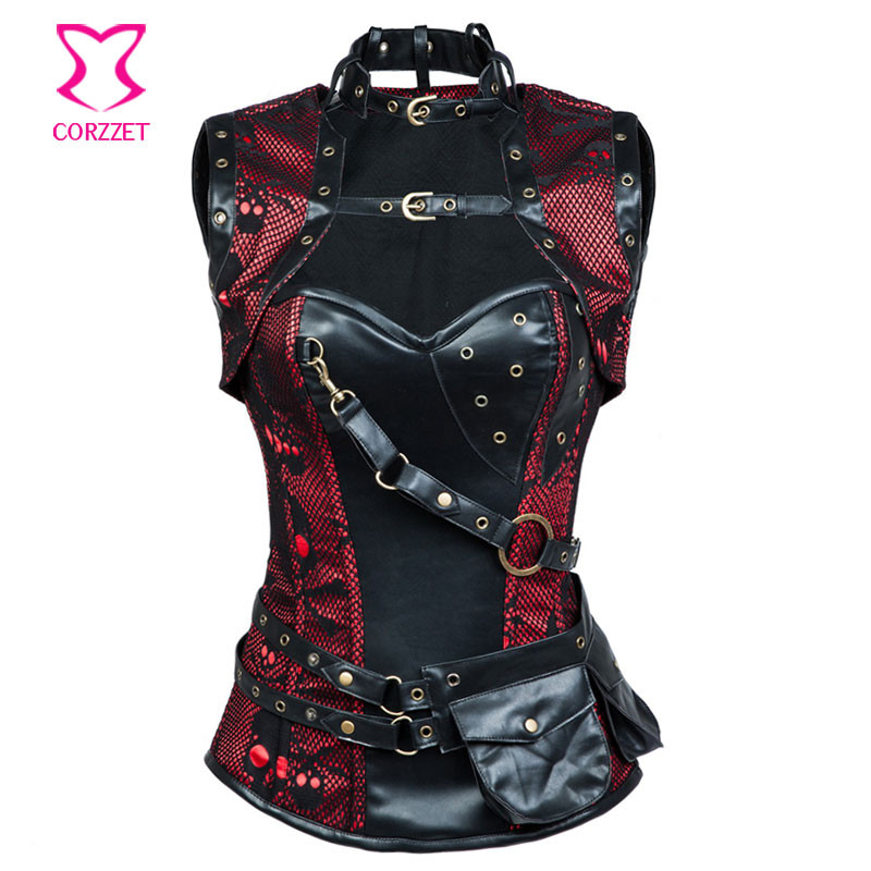 1d8b5651aaf Gothic Red Black Skull Pattern Steel Boned Corset Plus Size Corsets ...