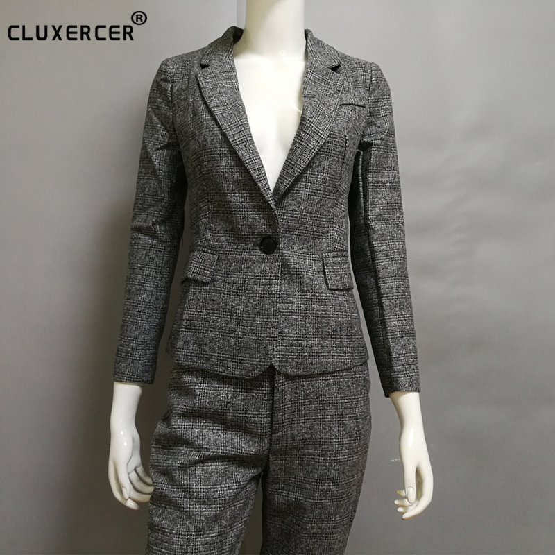 Work wear elegant ladies trouser suit new 2017 fashion women's slim long sleeve blazer with pants OL formal business pants suit