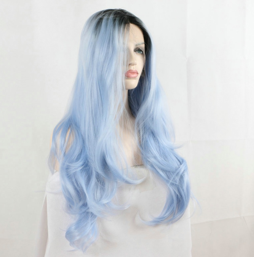 Light Blue Synthetic Lace Front Wigs