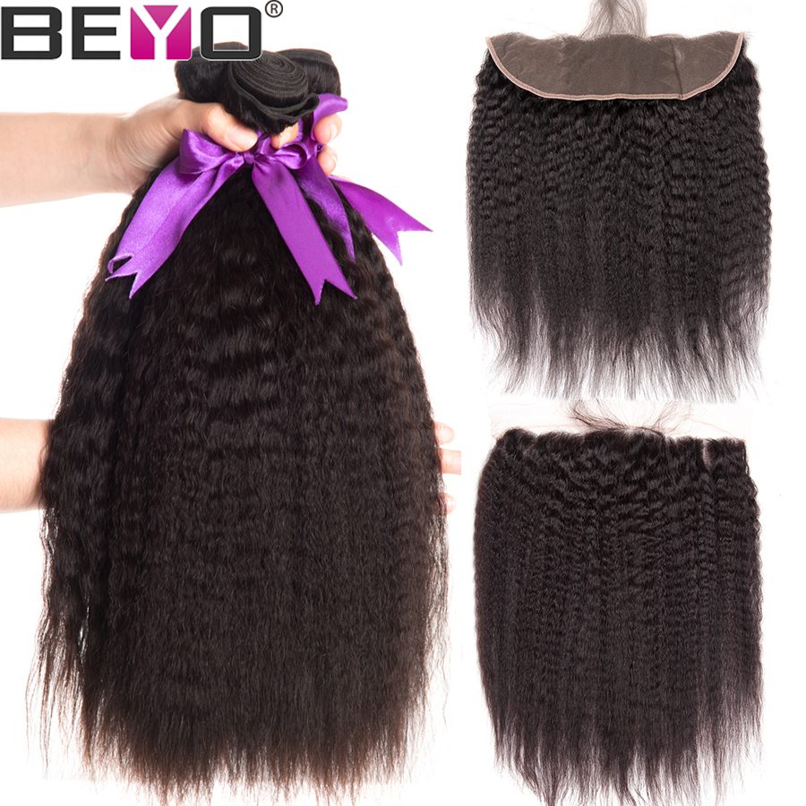 Beyo Hair Brazilian Kinky Straight Ear to Ear Lace Frontal Closure With Bundles Human Hair 3
