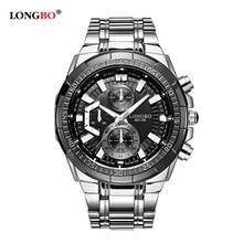 LONGBO Famous Brand Silver Casual Geneva Quartz Watch Military Men Stainless Steel Band Sports Wristwatch Relogio Masculino цена