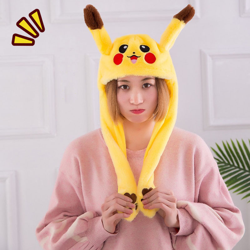 Women Moving Hat Rabbit Ears Plush Sweet Cute Airbag Cap Pikachu Lighted Hat Children Gift Cartoon Plush Doll Toy Cosplay Hat