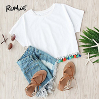 ROMWE Summer Fashion T shirts For Women Cotton Top 2016 New White Crew Neck Short Sleeve Contrast Fringe T-Shirt
