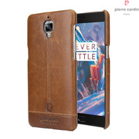 Original New Pierre Cardin Genuine Leather Hard Back Cover Case For One Plus 3 Case OnePlus