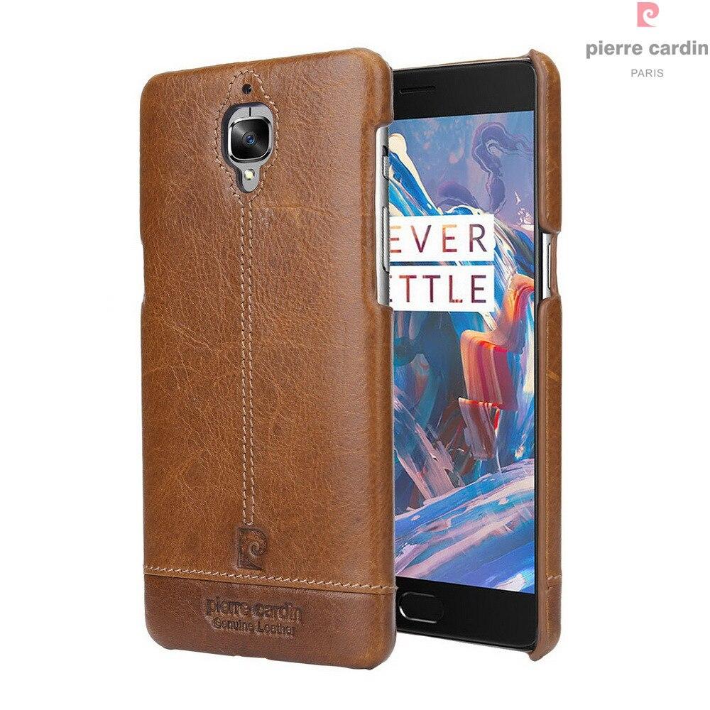 imágenes para Pierre Cardin Caso Para OnePlus Original 3 T 3 T Tres Teléfono de Lujo caso Duro de Cuero Genuino Delgado de La Contraportada Para Uno Más 3 T 3