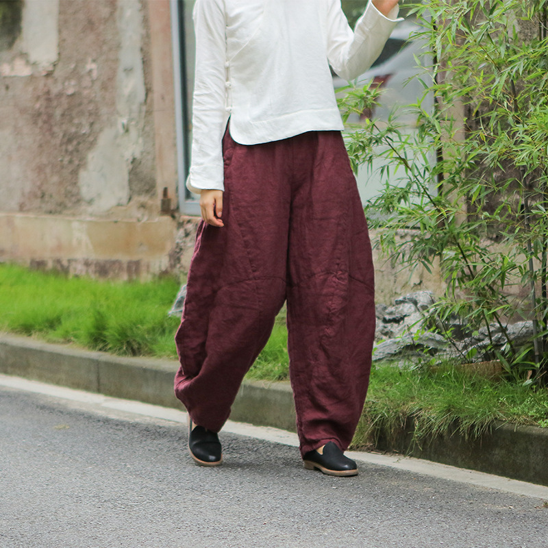 4 Solid Colors Long Thick Loose Lantern Women Linen Cotton Quilted Pants High Quality Thicken Warm