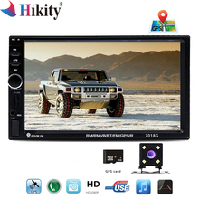 "Hikity 2 Din 7018G Car Multimedia Player GPS Camera Map 7"" HD Touch Screen Bluetooth Autoradio MP3 MP5 Video Stereo 2din Radio"