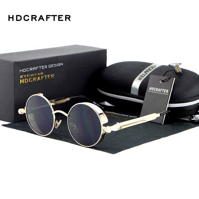 Hot New Vintage Redondo del Metal de Steampunk gafas de Sol Mujeres Diseñador de la Marca de Metal Tallado Gafas de Sol Hombres de Conducción gafas de sol