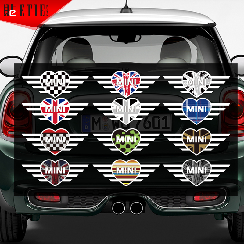 Etie Mini Heart Logo Vinyl Decals Pegatinas Uk National Flag Custom Body Pvc Sticker 3m Glue Wrap Motor Window Accessories In Car Stickers From Automobiles