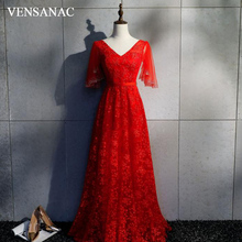 VENSANAC V Neck Lace Appliques 2018 Long Evening Dresses Elegant A Line Sequined Sash Backless Party Prom Gowns