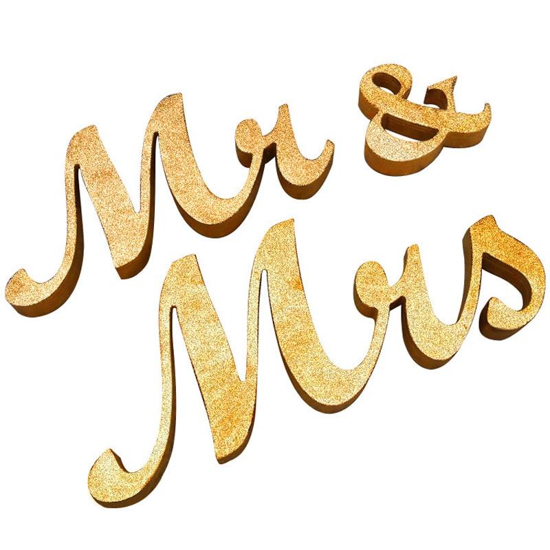 Высокое качество Свадебная вечеринка питания Приём подписывать письма Mr & Mrs Украшение стола золотистые/Серебристые