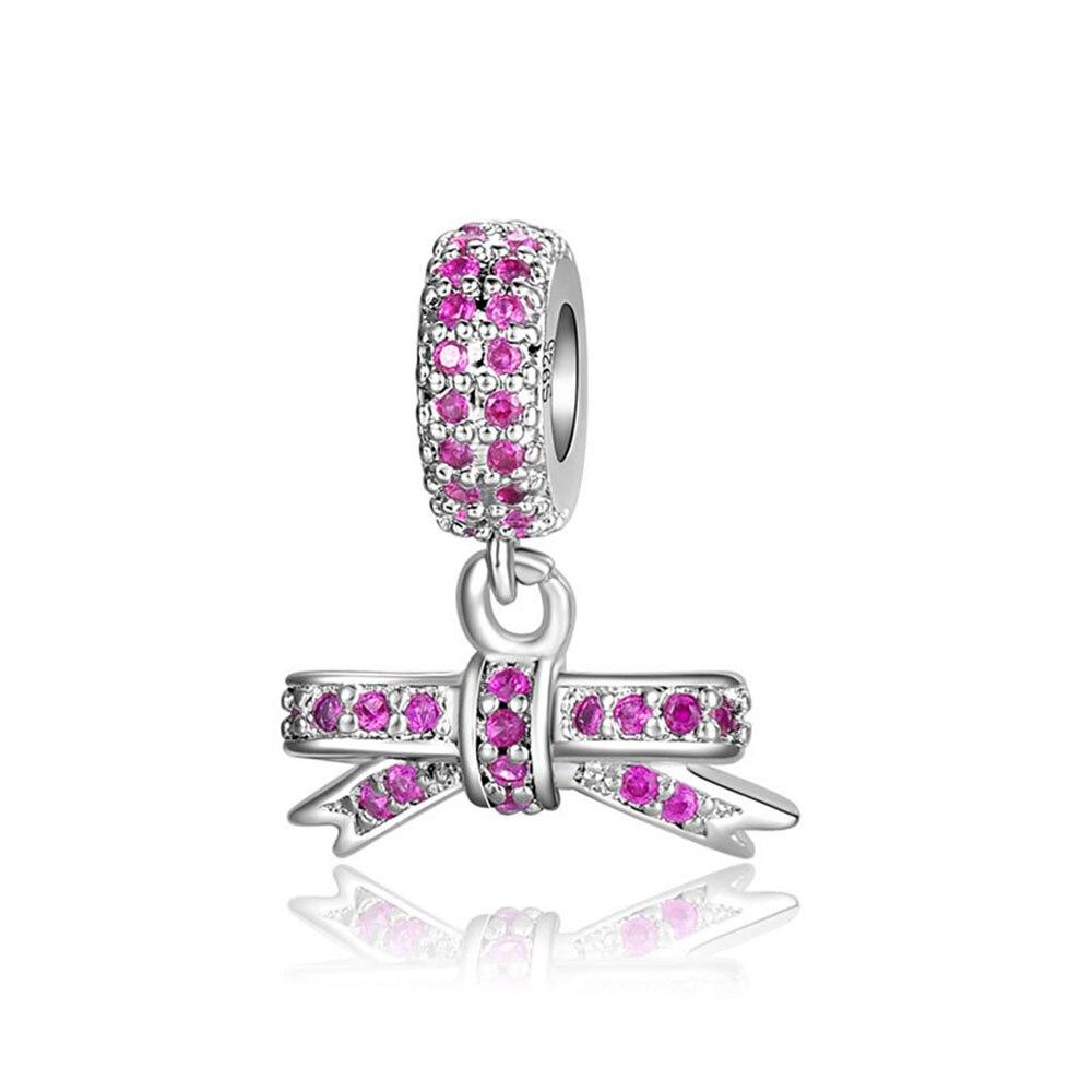 Gran oferta, abalorio de Color plateado con lazo, cuentas colgantes de cristal rosa para pulseras y brazaletes Pandora originales, joyería