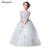 Flower Girls Long Gown for Princess Party Dress Children Formal Clothes Kids Dresses for Girls Wedding Evening Clothing