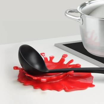 Mustard Blood Shaped Spoon Rest by Mustard Kitchen Cooking Aid Cup Holder