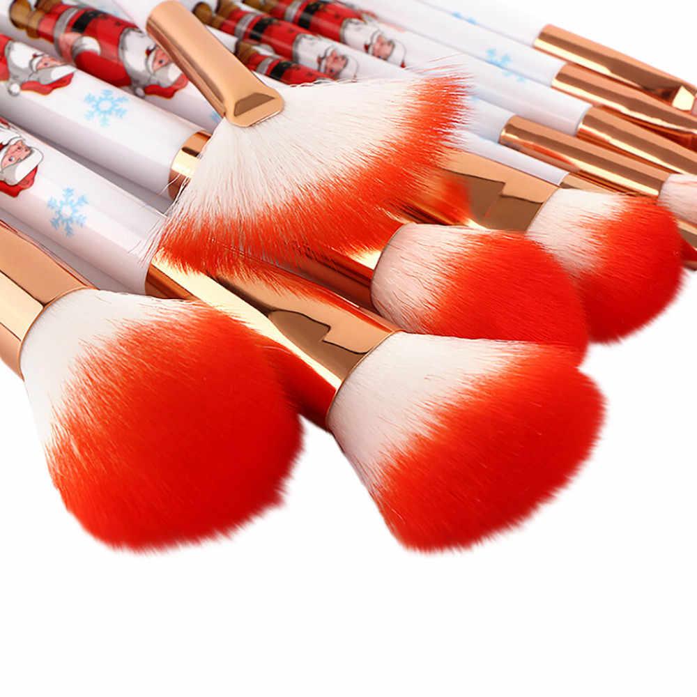 10 pièces De Noël style maquillage Pinceaux Ensembles Conceptions spéciales pour Fille Multifonctionnel Sourcils Fard À Paupières Brosse Pinceaux De Maquillage