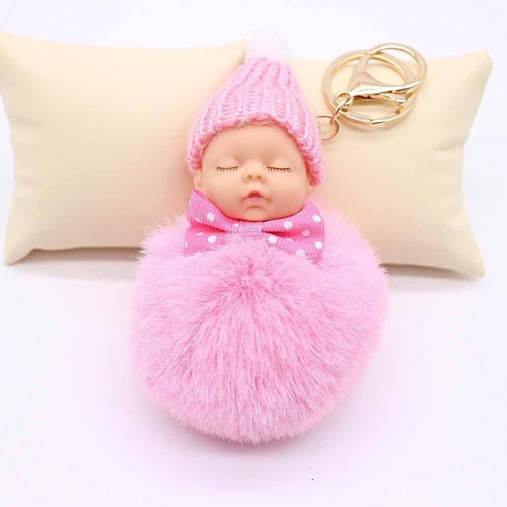 ZOEBER Dormir Baby Doll Mulheres Saco Chave Titular Chaveiro Pompom Bola de Pêlo de Coelho Pingente De Chave Cadeia Chaveiro Charme Acessórios Do Carro