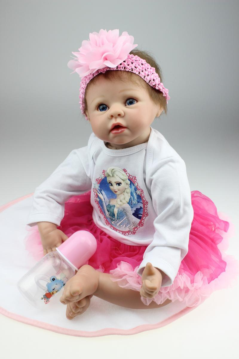 Free shipping 22 Inch Soft Silicone Lifelike Girl Doll Reborn Realistic Newborn Babies That Look Real Kids Birthday Xmas Gift can sit and lie 22 inch reborn baby doll realistic lifelike silicone newborn babies with pink dress kids birthday christmas gift