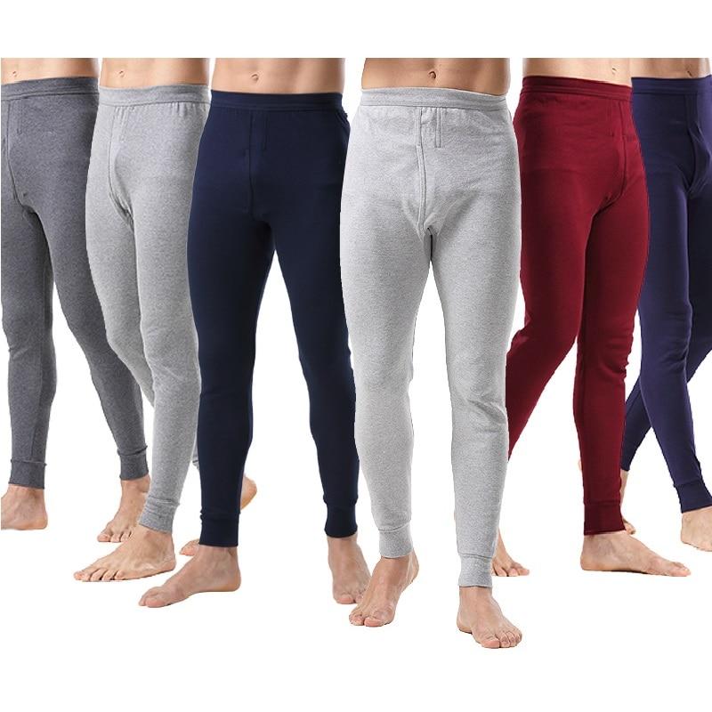 2018 New Men Underwear Pants Slim Solid Color Leggings Keep Warm Thin Trouser Asian Size