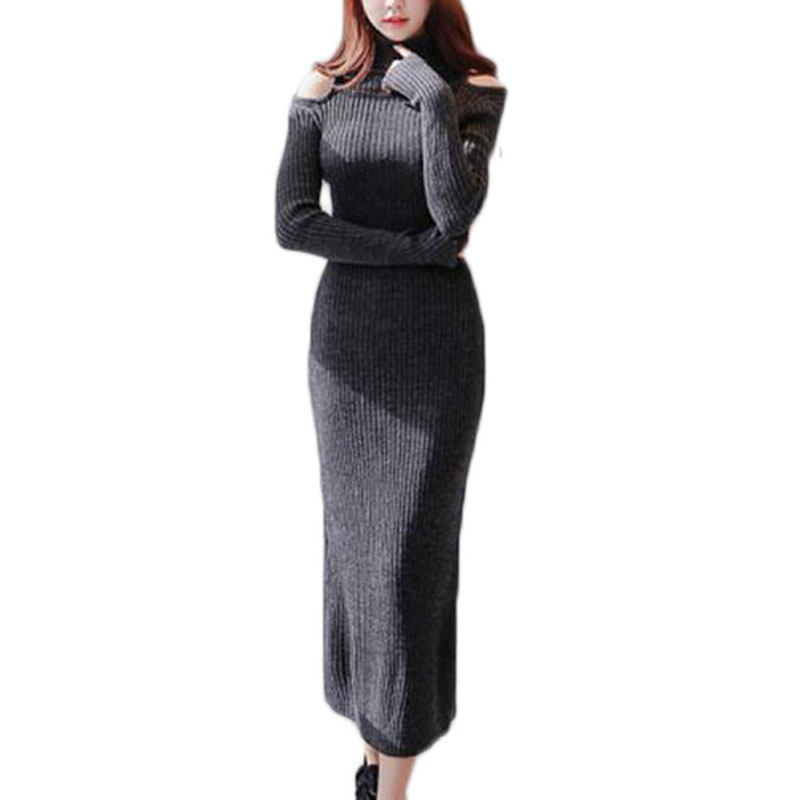 Long Maxi Winter Dresses 2016 Long Sleeve Women Sweaters And Pullovers Turtleneck Knitted Sweater NL0122