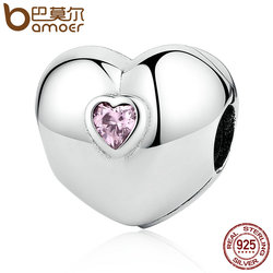 BAMOER Hot Sale 100% 925 Sterling Silver Steady Heart, Pink CZ Clip Charms fit Bracelets & Necklaces Beads Accessories PSC034