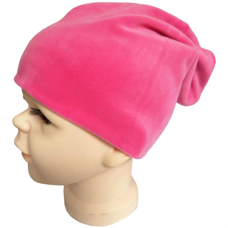 ใหม่กำมะหยี่เด็ก Hip Hop หมวกฤดูใบไม้ร่วงฤดูหนาวเด็กหมวกผ้าพันคอสำหรับชายหญิง Street Dance หมวกสีอบอุ่นเด็กหมวก