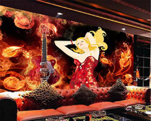 beibehang Custom wallpaper 3D mural fashion flame guitar beauty bar disco KTV personality tooling background wall paper mural(China)