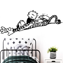 лучшая цена European-Style calvin and hobbes dancing Wall Sticker Home Decor Decoration For Kids Rooms Wall Decoration
