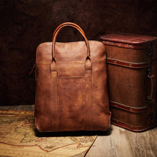 High quality Men Leather Messenger Bag Business Bag Briefcase Laptop Case Premium Genuine Leather Vintage Briefcase Satchel Bag