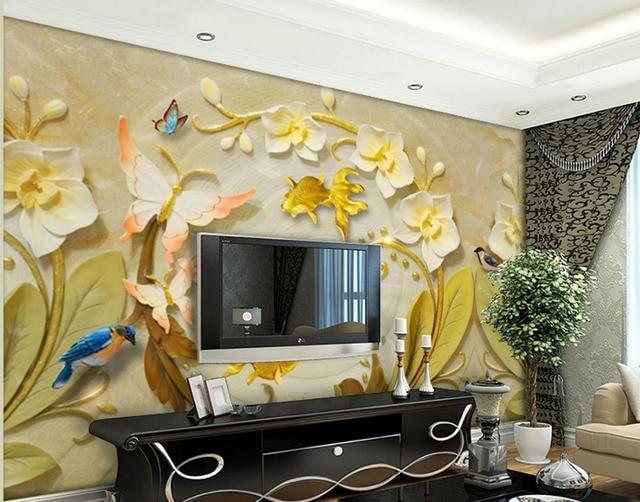 custom 3d wallpaper Relief butterfly flower art mural bathroom 3d ...